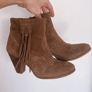 Anthropologie Howsty Fringe booties